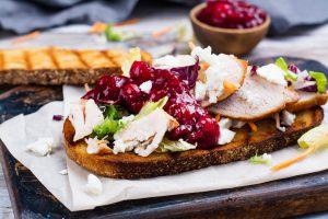 Picture of a chicken and cranberry sandwich